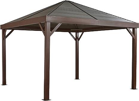 Sojag Carpa de aluminio South Beach Wood // 363 x 363 cm // Cenador con aspecto de madera y cenador de jardín con techo duro con mosquitera.