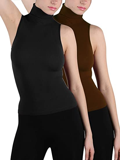 Women Sleeveless Mock Neck Turtleneck Body Shaping Slim Fitted Shirts Plus Size