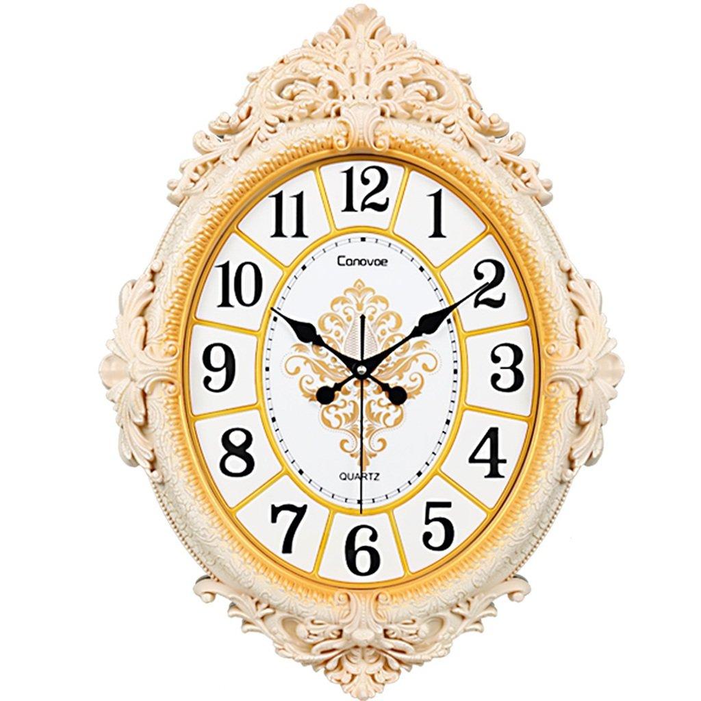 JCRNJSB® リビングルームサイレントウォールクロックヨーロッパスタイルの楕円形のクォーツ時計創造的なファッションウォールクロックのパーソナリティは、テーブルにリンク 壁掛けサスペンション クロックウォールクロック クォーツ時計 (色 : #1) B07CZVX27C #1 #1