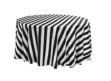 YCC Linen   120 Inch Round Satin Tablecloth Black/White Striped, Rectangle  Shiny Satin