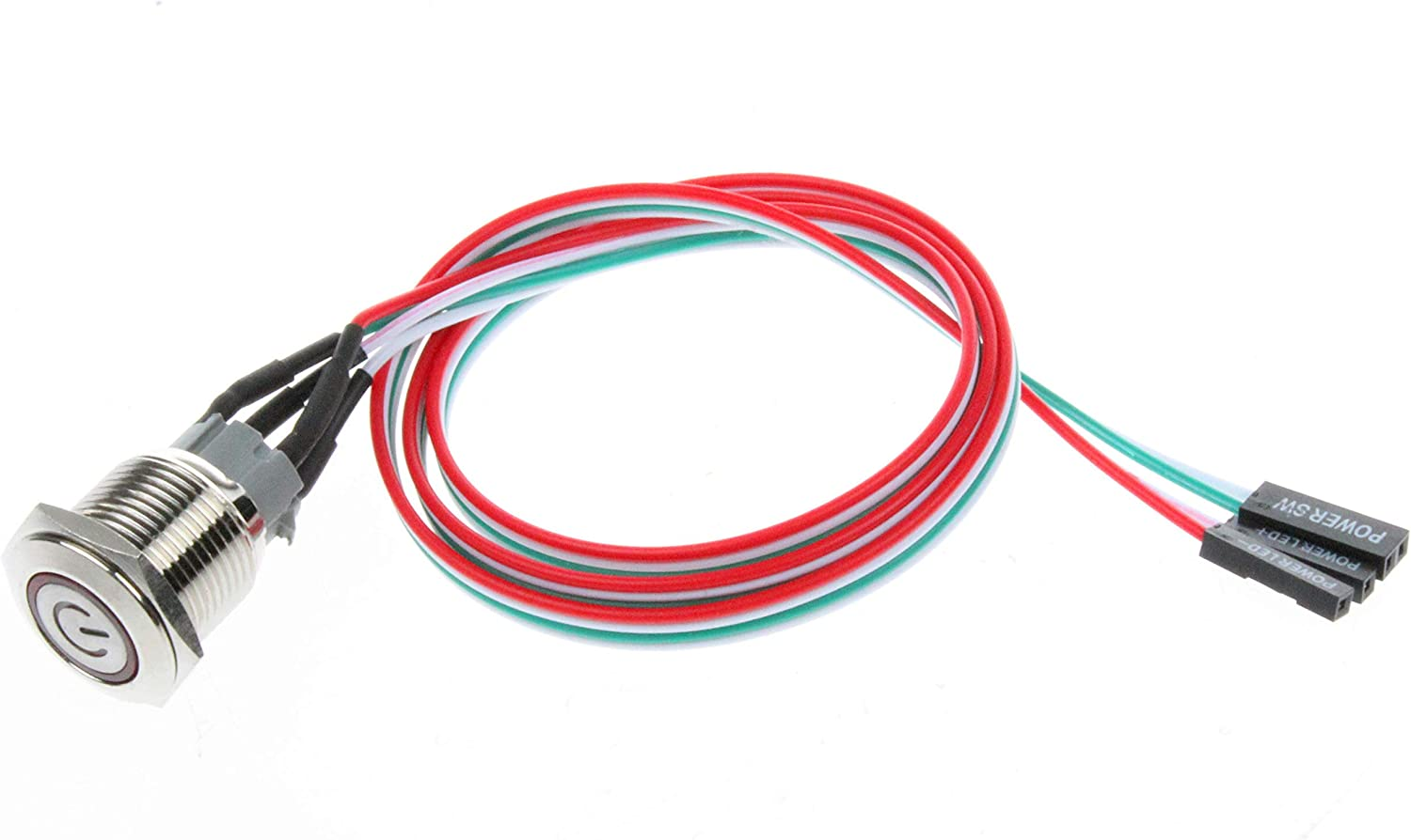 12mm, Blue Symbol NOYITO 12mm Chassis Switch Metal Button Switch with 22inchs Extension Cable Red Yellow Blue Green Switch Symbol Suitable for Computer DIY Switch