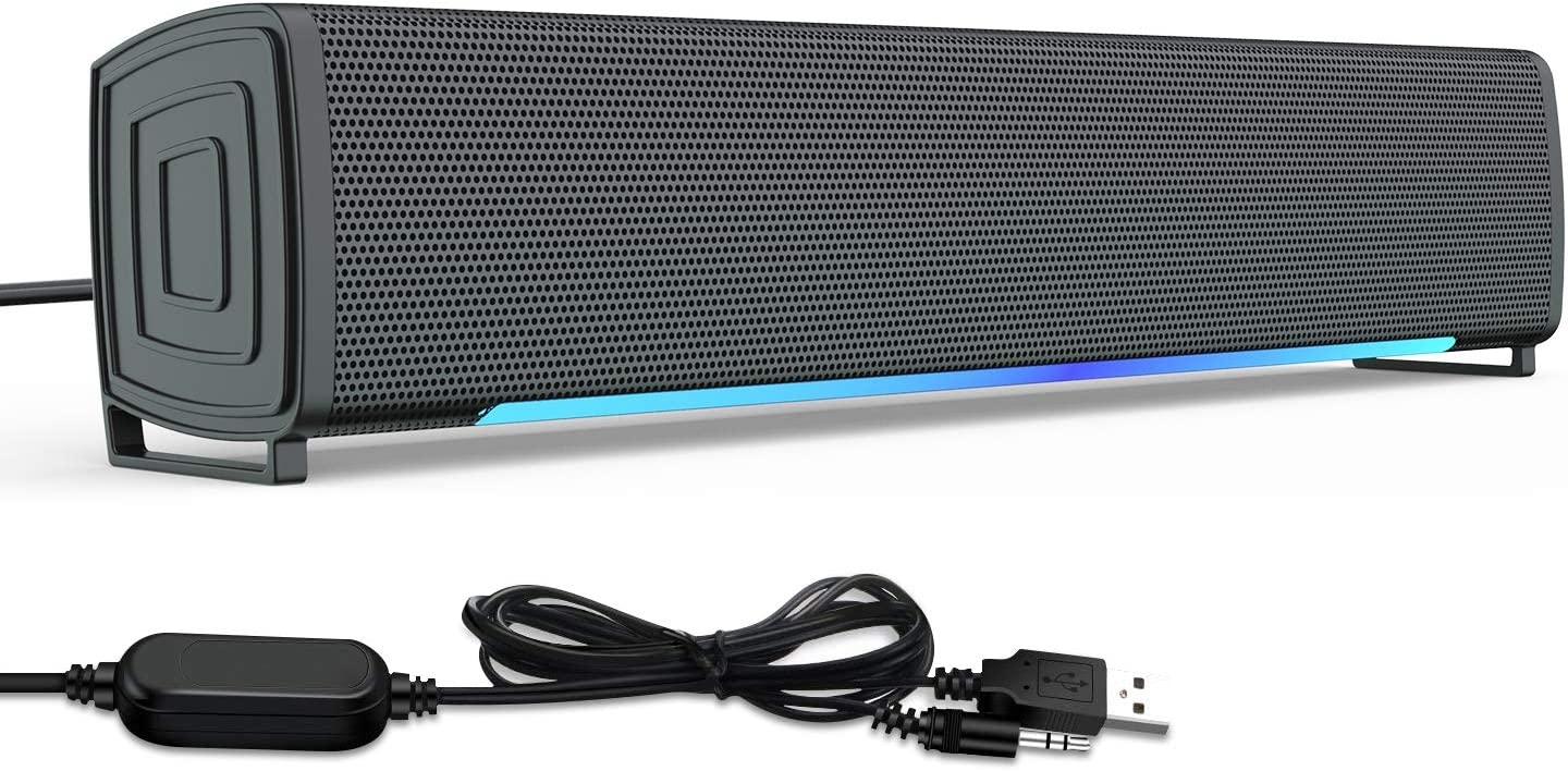 EasySMX Soundbars for TV with 3.5mm Audio Cable, PC Sound Bar Suitable for TV, iPad, Mobile Phone, MP3, MP4 and Tablet, Wired Computer Speakers for Desktop with Stereo & Beating Light Effect