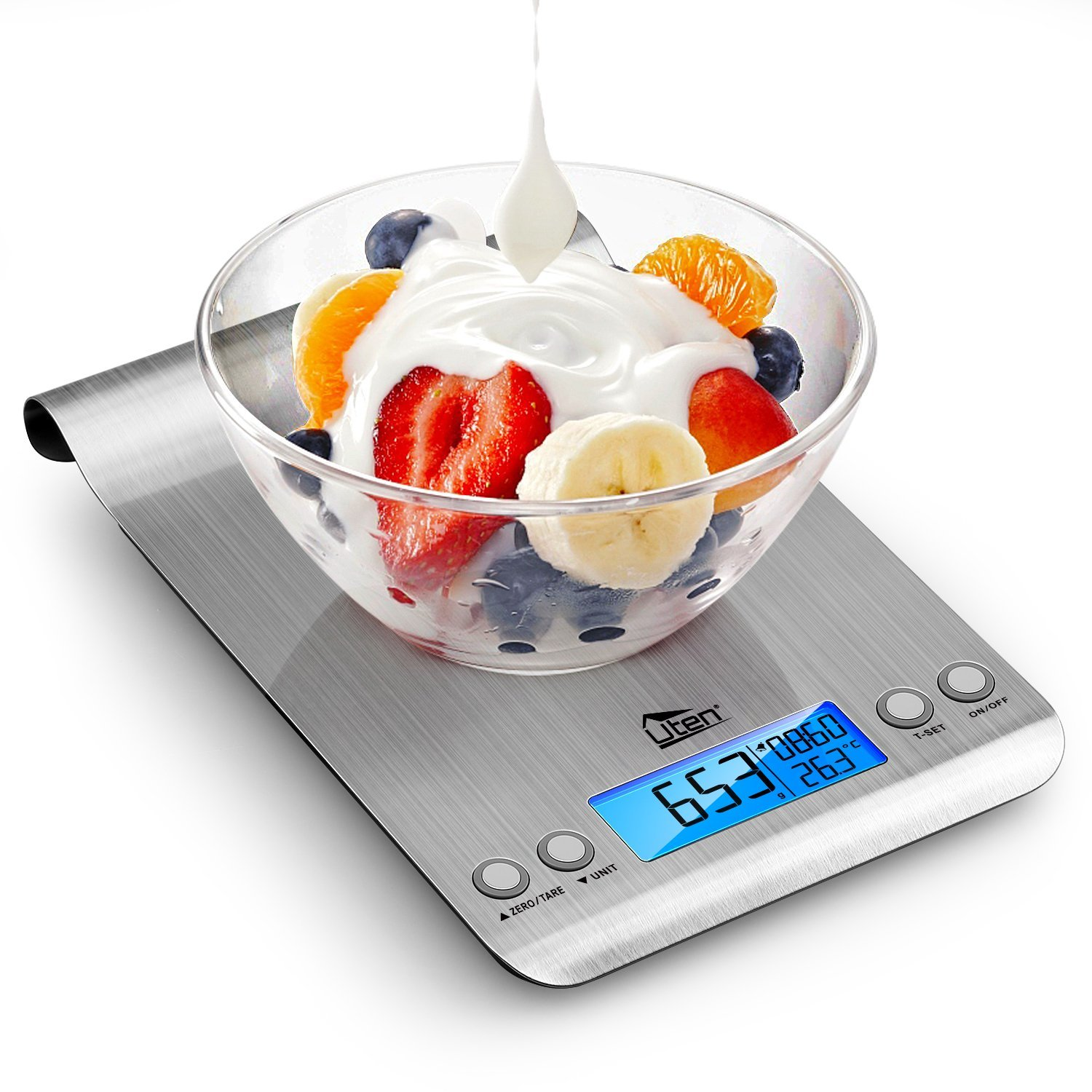 Digital Kitchen Scale Ultra Slim Multifunction Stainless Steel Hook Design Food Scale 11lb/5kg With Back-Lit LCD Display Fingerprint Resistant Coating include 2 AAA Battery Uten US-U-HKW014-X01