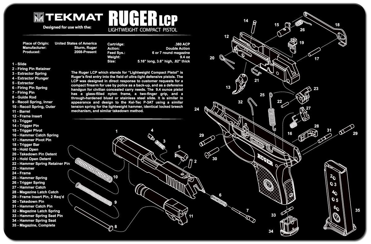 amazon com tekmat ruger lcp cleaning mat 11 x 17 thick, durabletekmat ruger lcp cleaning mat 11 x 17 thick, durable, waterproof handgun cleaning mat with parts diagram and instructions armorers bench mat black