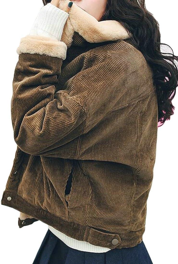 KXP Womens Buttons Fleece Thicken Lined Corduroy Overcoat Parka Coat Jacket Coffee L