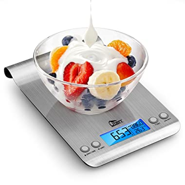 Uten Digital Kitchen Scale Ultra Slim Multifunction Stainless Steel Hook Design Food Scale 11lb/5kg With Back-Lit LCD Display Fingerprint Resistant Coating, Battery Included