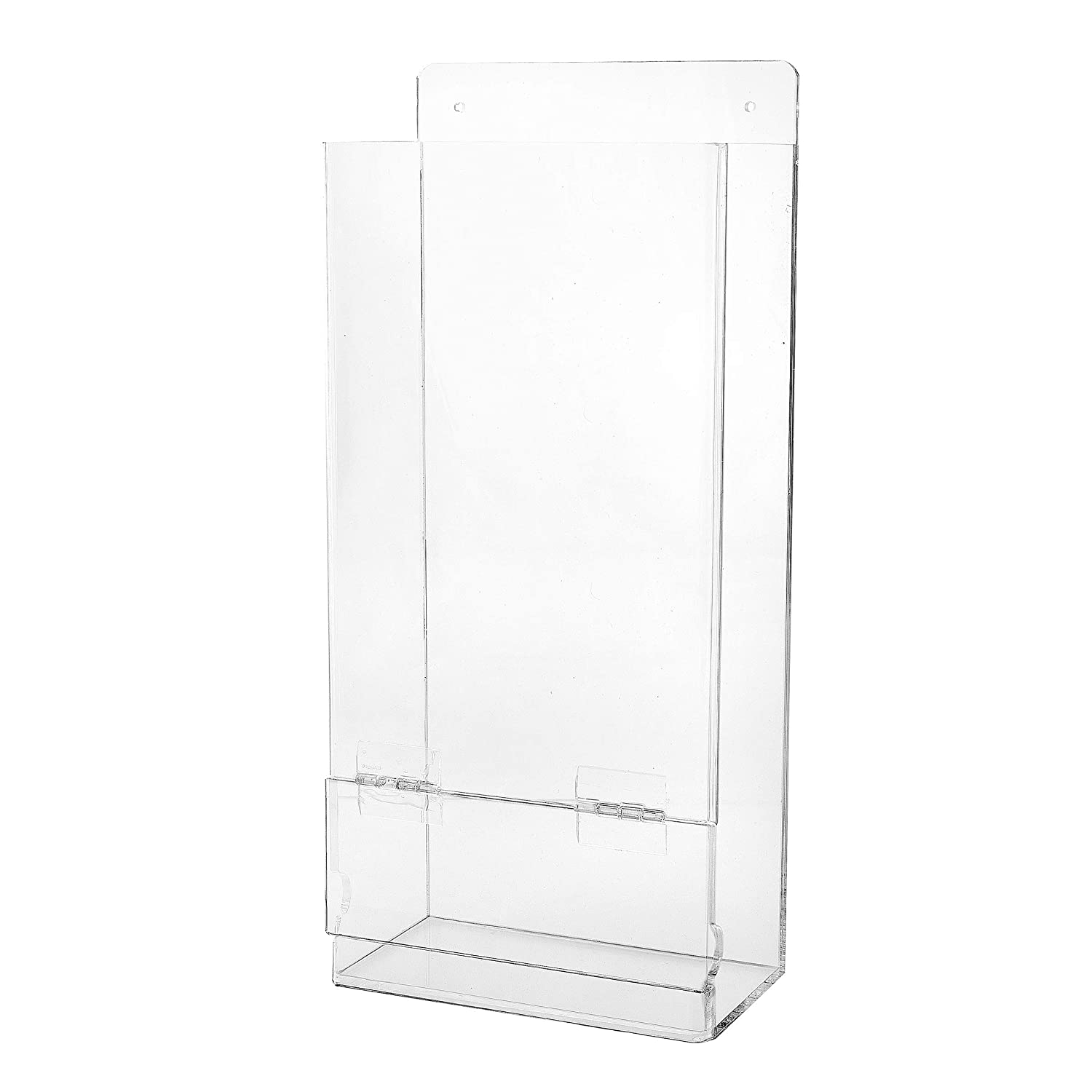 AdirOffice Hairnet & Shoe Cover Dispenser - Standing/Wall Mount Acrylic Container for Gloves, Hair Net & Covers - Laboratory, Kitchen & Restaurant Plastic Organizing Storage (17.5 x 8 x 4)