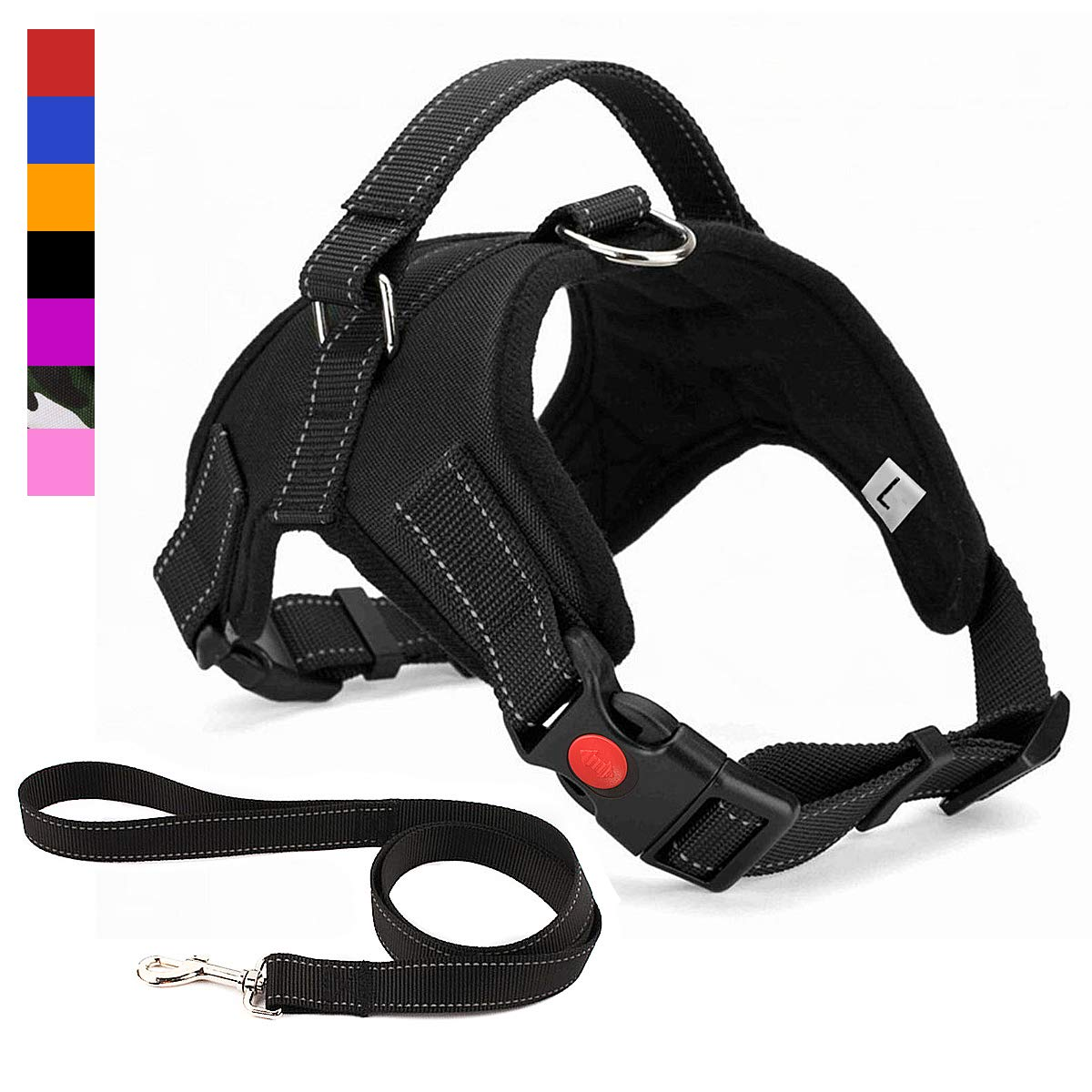 Musonic No Pull Dog Harness, Breathable Adjustable Comfort, Free Leash Included, for Small Medium Large Dog, Best for Training Walking Black