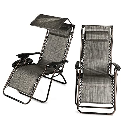 Strange 2 Pcs Zero Gravity Folding Lounge Beach Chairs W Canopy Inzonedesignstudio Interior Chair Design Inzonedesignstudiocom