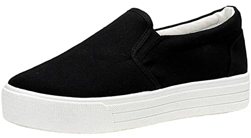 Shoes On Loafers Slip Student Platform Women's High Canvas Ppxid Casual vmNn0O8w