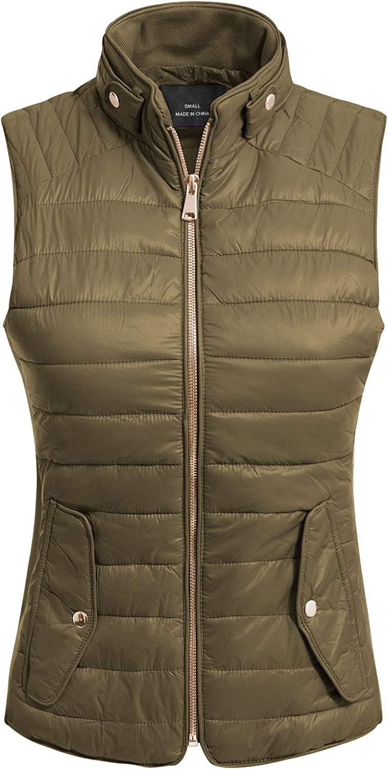 MixMatchy Womens Padded Vest Lightweight Stand Collar Zip-up Quilted Gilet