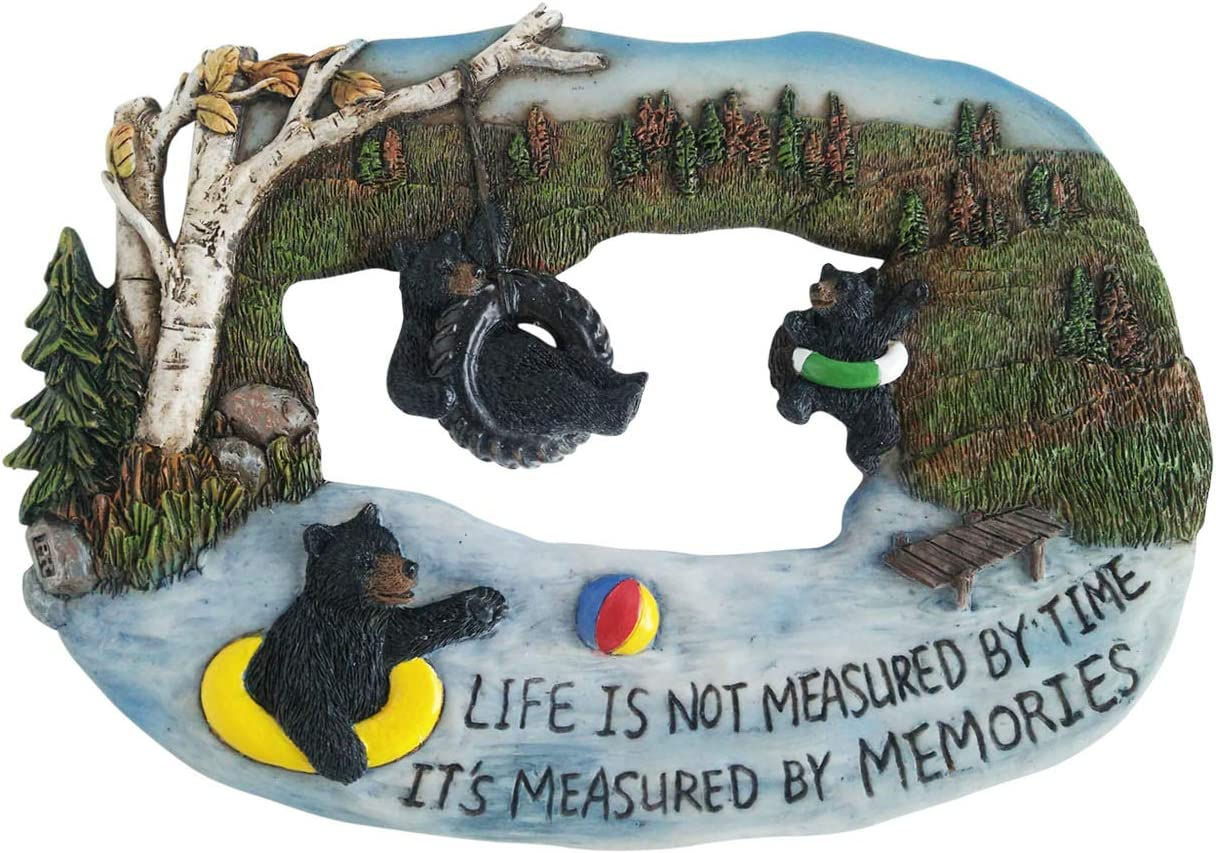 Black Bear Decorations for Home - Mama Bear Decor Life is Not Measured by Time It's Measured by Memories Cabin Wall Hanging 3 Bear Pictures Wall Art - Home Decor Bears Wall Plaque Wilderness Bathroo