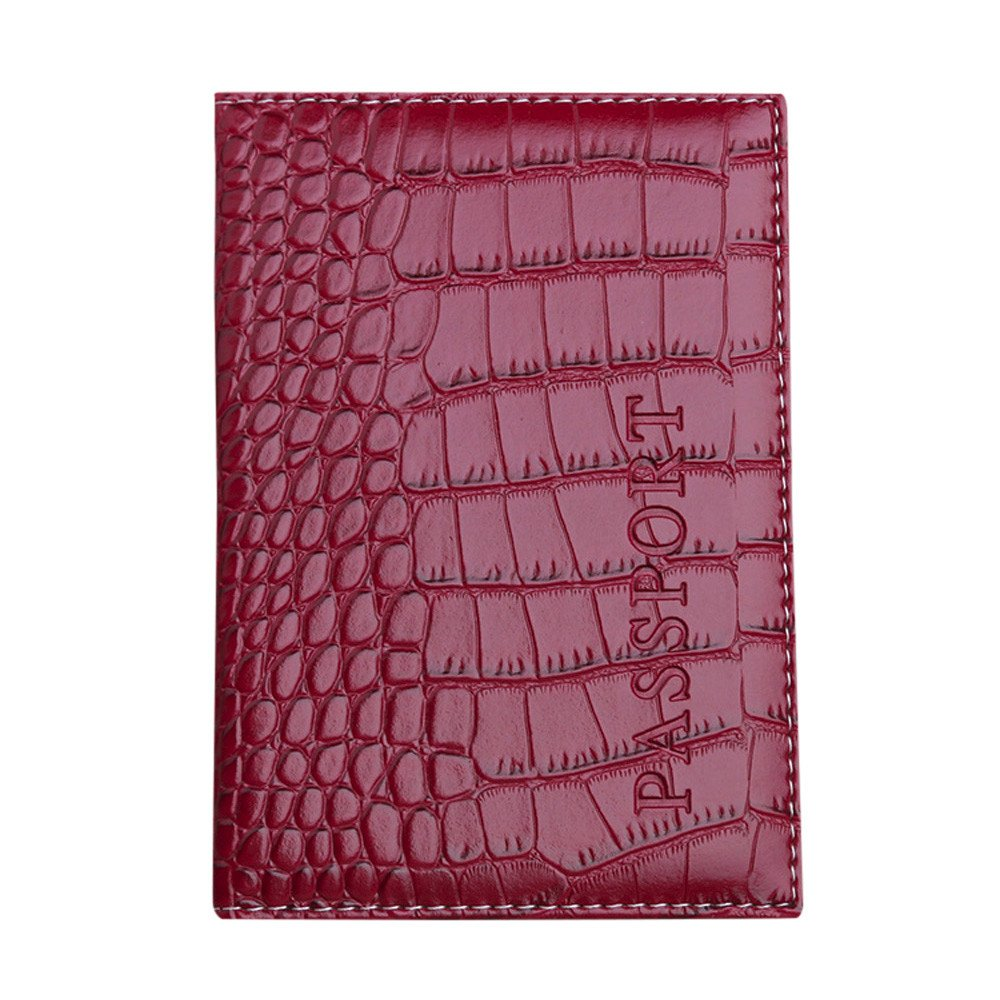 ABASSKY Passport Holder Protector Wallet Business Card Soft Passport Cover Leather (Wine)