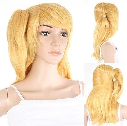 Colour blanco y negro para mujer de la peluca profesional de peluche aproximadamente 50 cm de