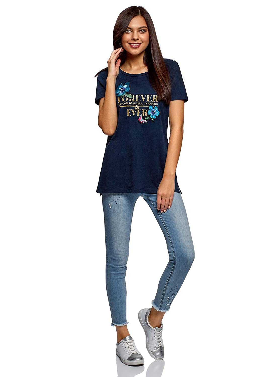 oodji Ultra Donna T-Shirt in Cotone Larga