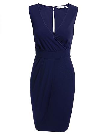 ANGVNS Damen Etuikleid Bleistiftkleid Business Kleid Bodycon Rüschen  Ärmellos Knielang Festlich Kleid