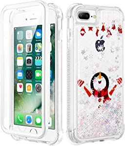 Caka Christmas Case for iPhone 6 Plus 6s Plus 7 Plus 8 Plus, Glitter Liquid Christmas Theme Design Case for Girls Women Girly Bling Full Body with Screen Protector Protective Case- White Snowman