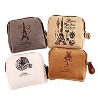 BIGBOBA 5PCS mini canvas portamonete portafoglio da donna borsa portamonete piccolo carino borsa portaoggetti per chiavi, auricolare, rossetto, carta