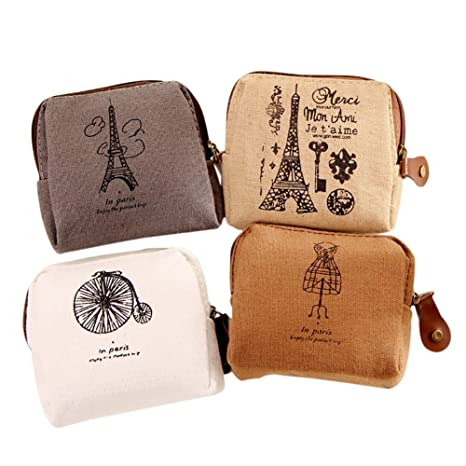 Qifumaer 5 Pcs Fashion Women Cotton Linen Coin Purse Multifunction Makeup Pouch Small Wallet Cute Cartoon Coin Purse
