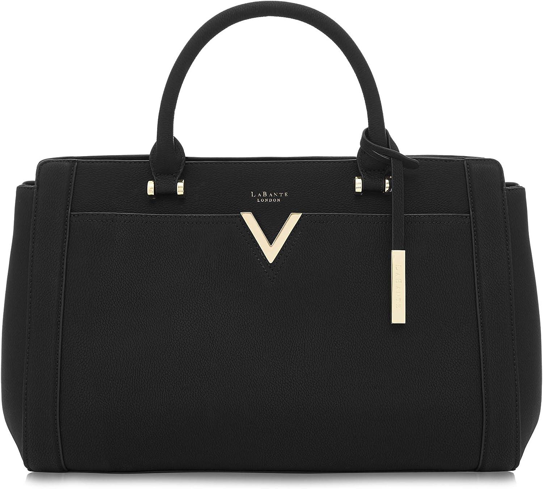 LaBante London 'Dawson' Vegan Leather Carryall Laptop Bag for Women (Black)