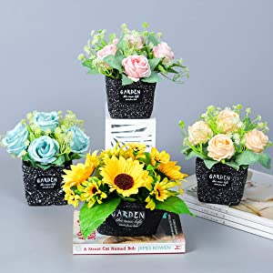 Artificial Flowers with Vase, Fake Sunflower Rose in Black Vase, Faux Flower Set with Plant Pot for Home Decor Indoor Outdoor Wedding Party Garden Decoration (Sunflower)