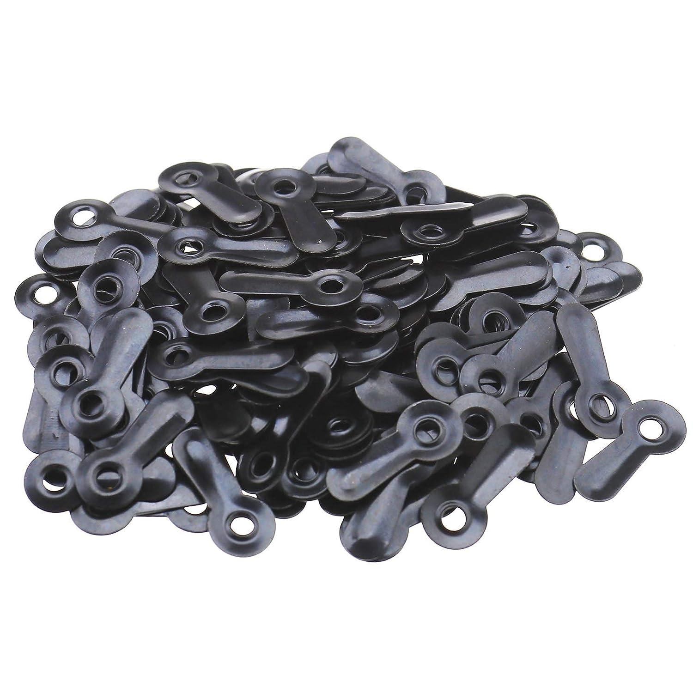 YINETTECH 200 Cierres de Metal con 200 Tornillos para Colgar Cuadros Color Negro y Dorado
