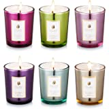 Scented Candles 100% Natural Eco-friendly Soy Wax ,Flower Fragrance & Essential Oils & Stress Relief ,Set Gift of 6
