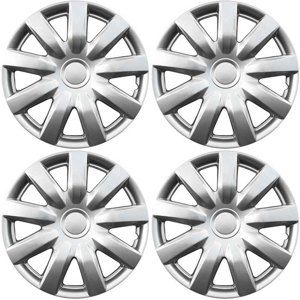 OxGord Hubcaps for Toyota Camry (Pack of 4) Wheel Covers - 15 Inch, 9 Spoke, Snap On, Silver