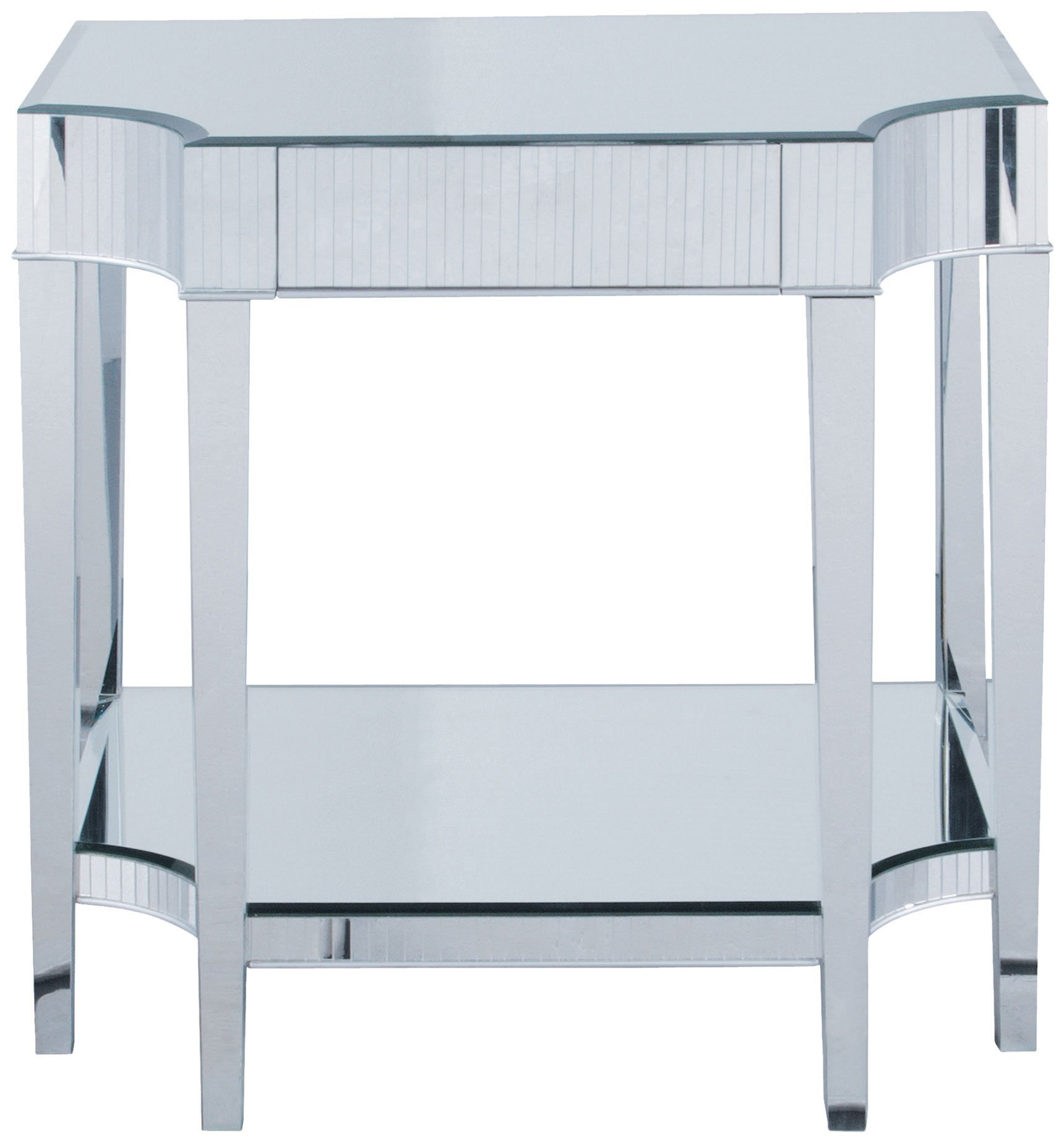 Sterling 6041162 Cinema Contemporary Asian Hardwood Side Table with Beveled Mirror Top, 28-Inch, Acrylic
