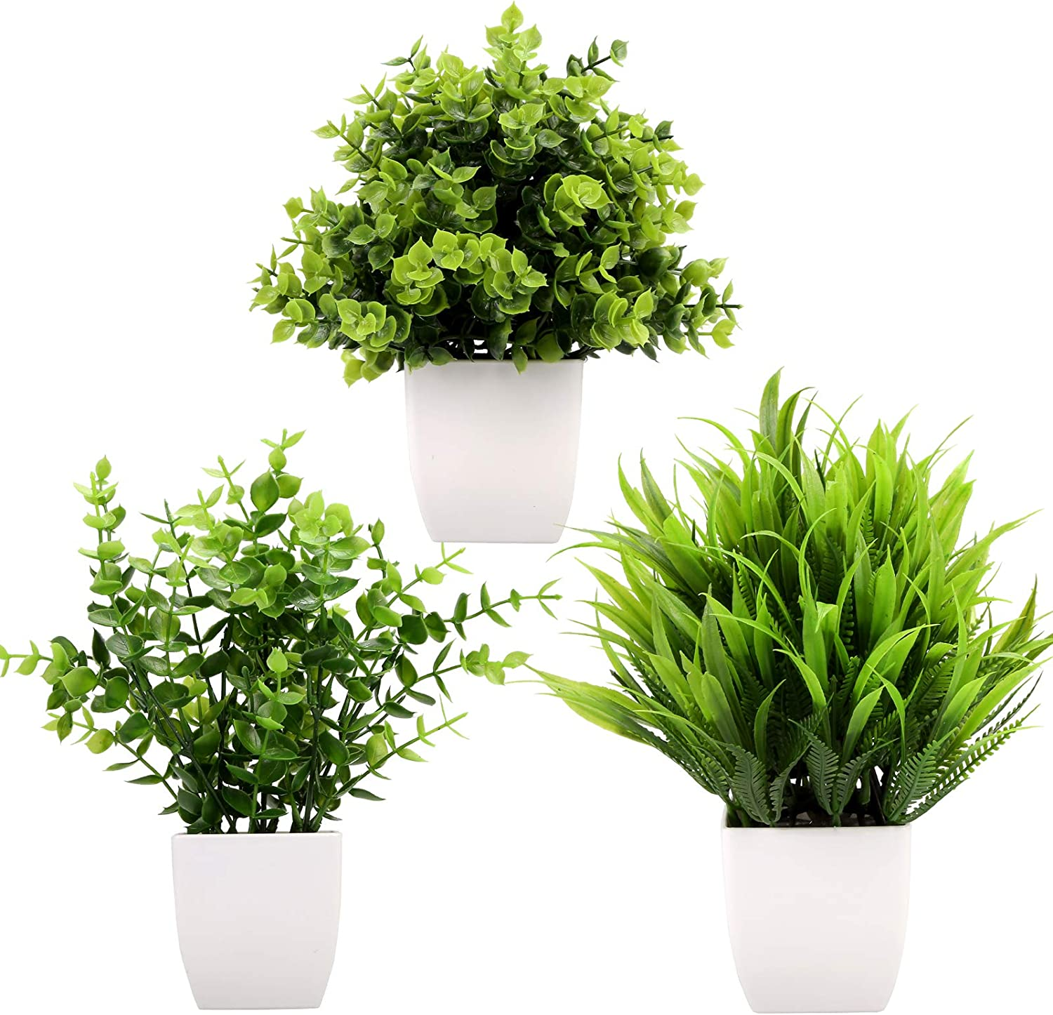 Greentime 3Pack Fake Plants in Pots,Artificial Plastic Eucalyptus Plants,Wheat Grass Potted Faux Plants Indoor for Office Desk Coffee Table Bathroom Bedroom Home Decorations