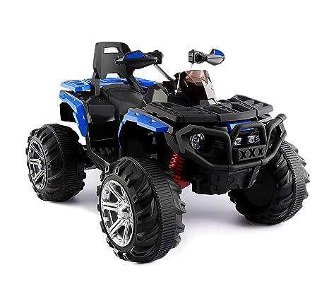 B83562 Quad PASSION ATV moto MONSTER eléctrico para niños MP3 4 amortiguadores - Azul