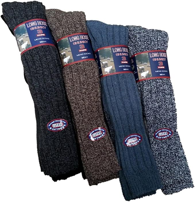 6 Pairs 6-11 Mens Long Thick Chunky Wool Work Hiking Boot Fishermans Socks Warm