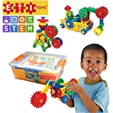 ETI Toys | 74 Piece Educational Engineering Building Set for 4, 5, 6, 7+ Year Old Boys & Girls. Fun Learning Construction Blocks & Gears Kit makes it the Best STEM Toy Gift for Kids Ages 4yr – 8 yr.