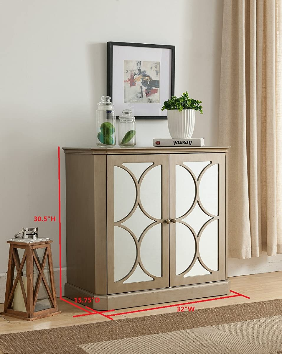 Kings Brand Gold Finish Buffet Server Cabinet/Console Table, Mirrored Doors