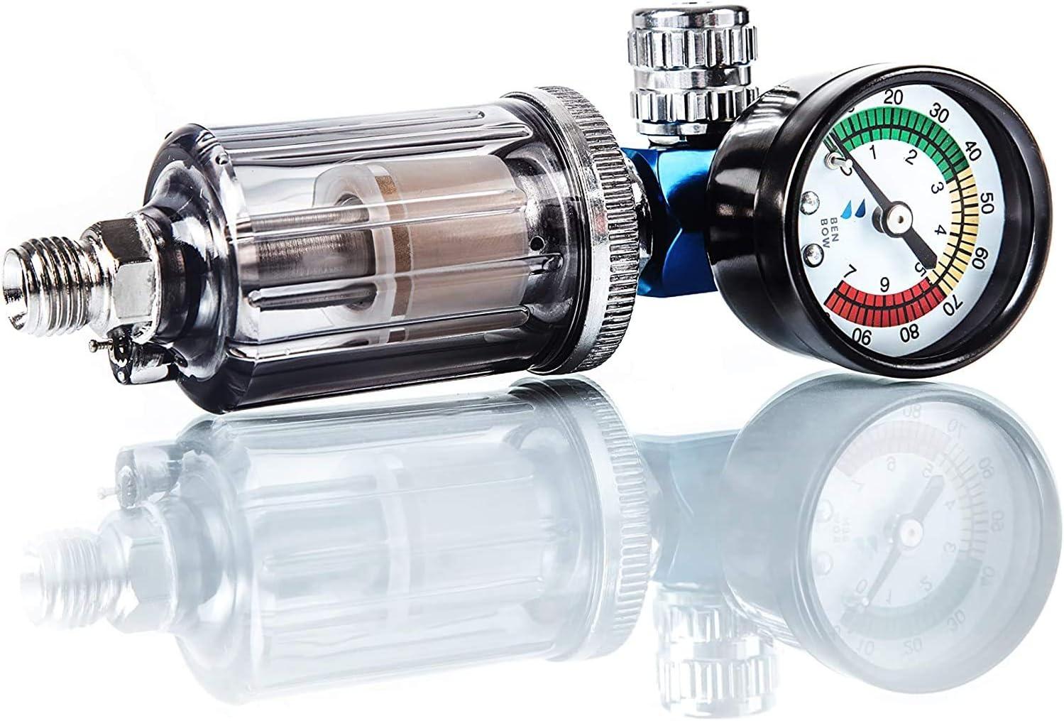 BenBow Regulador de presión de Aire con manómetro y Separador Aceite-Agua - Filtro para Pistolas de Pintura Pistola neumática Reductor de presión Herramienta separadora