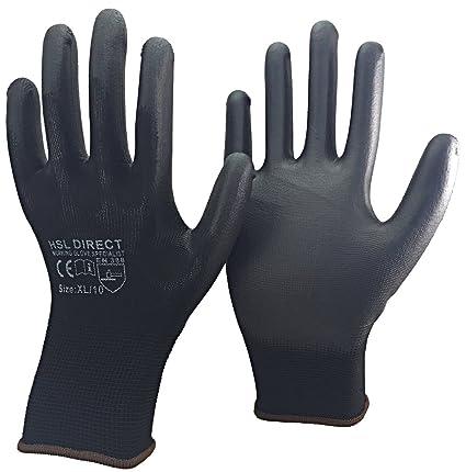 24 Pairs PU Coated Black Nylon Work Gloves Gardening Builders 7 S Mechanic