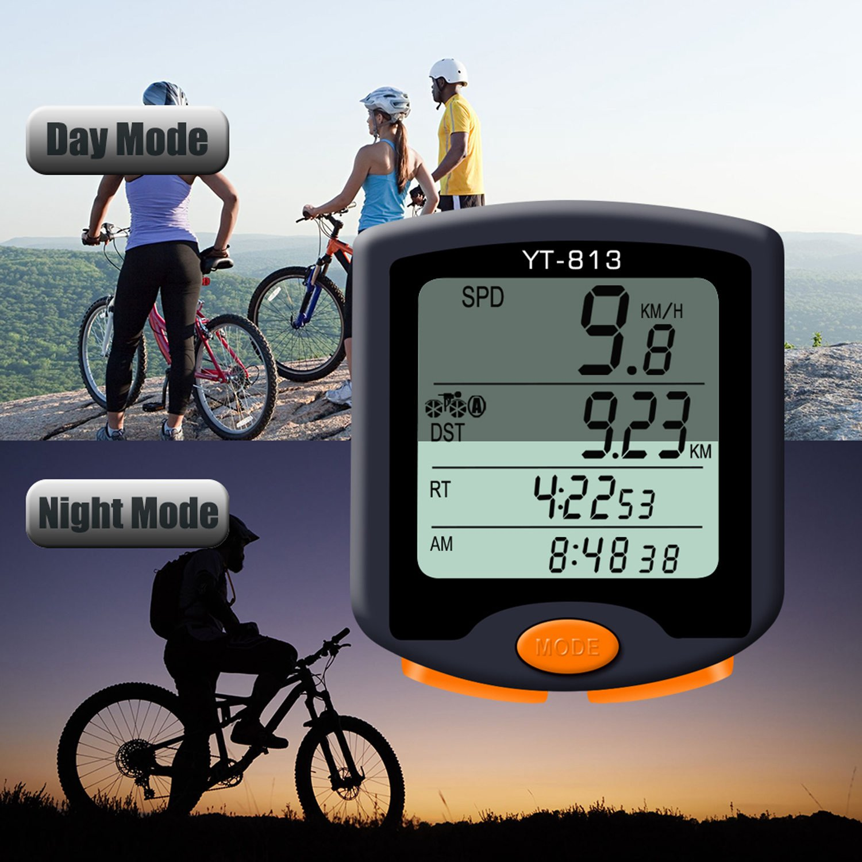 Nellvita Bike Speedometer Odometer, Wireless Waterproof Multifunction Cyling Bicycle Computer With LCD 4 Line Display Big Screen Backlit by Nellvita (Image #1)