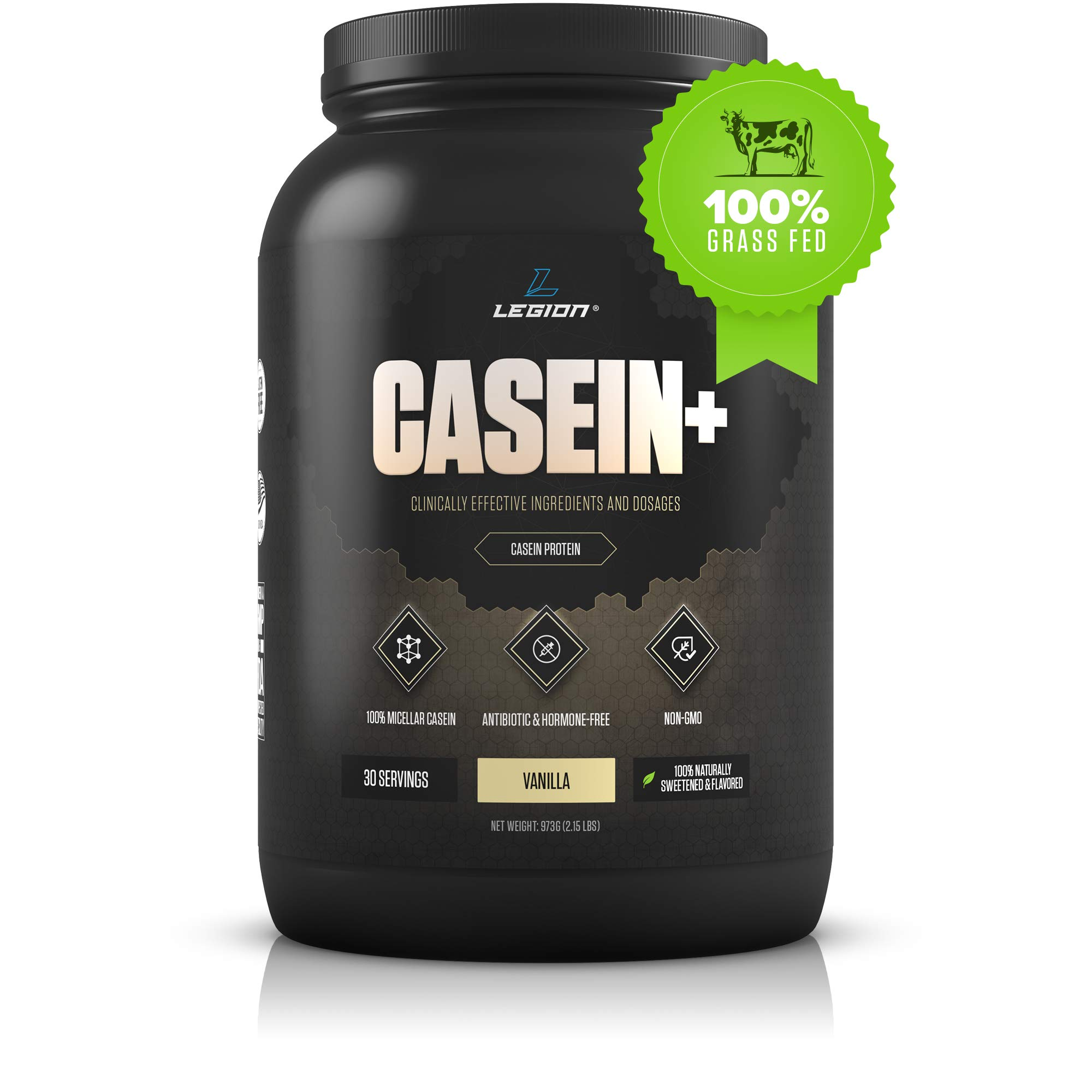 Legion Casein+ Vanilla Pure Micellar Casein Protein Powder - Non-GMO Grass Fed Cow Milk, Natural Flavors & Stevia, Low Carb, Keto Friendly - Best Pre Sleep (PM) Slow Release Muscle Recovery Drink 2lb by Legion Athletics