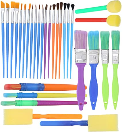 4 Pack Assorted Kids Paint Brushes for Kids Children Arts /& Craft Creative Fun