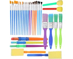 Complete Set of 30 Art Paint Brushes for Kids by Glokers - Variety of Paintbrushes for Watercolor, Oil, Acrylic & Tempera Pai