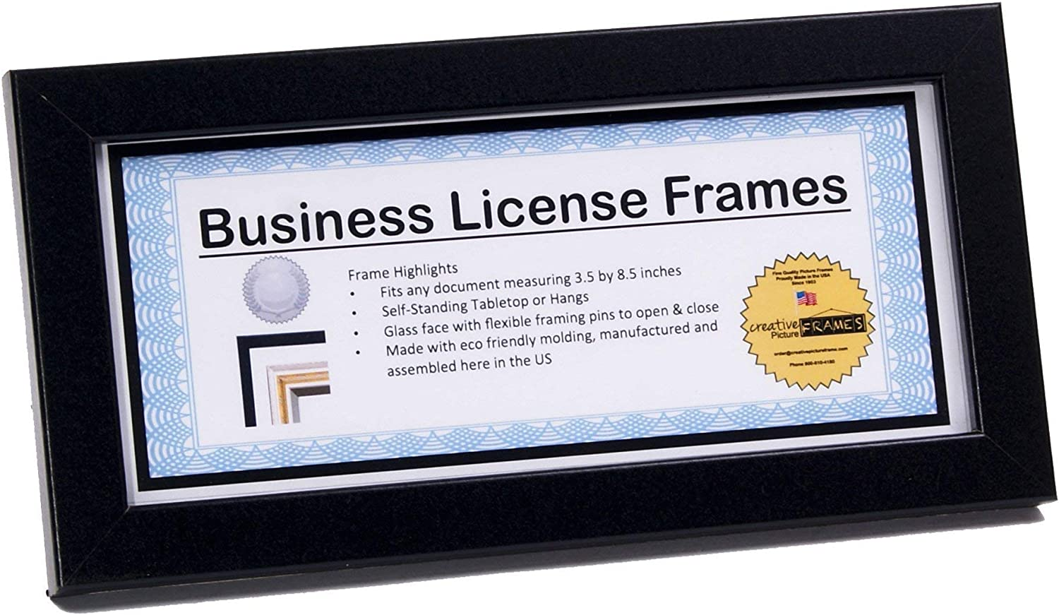 CreativePF [4x9bk] Black Business License Frames Holds 4 by 9-inch, Self-Standing with Hanger