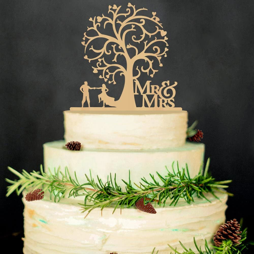 Hatcher lee Mr and Mrs Cake Topper Wood Wedding Cake Topper Funny Bride and Groom with Blossom Tree Rustic Cake Topper