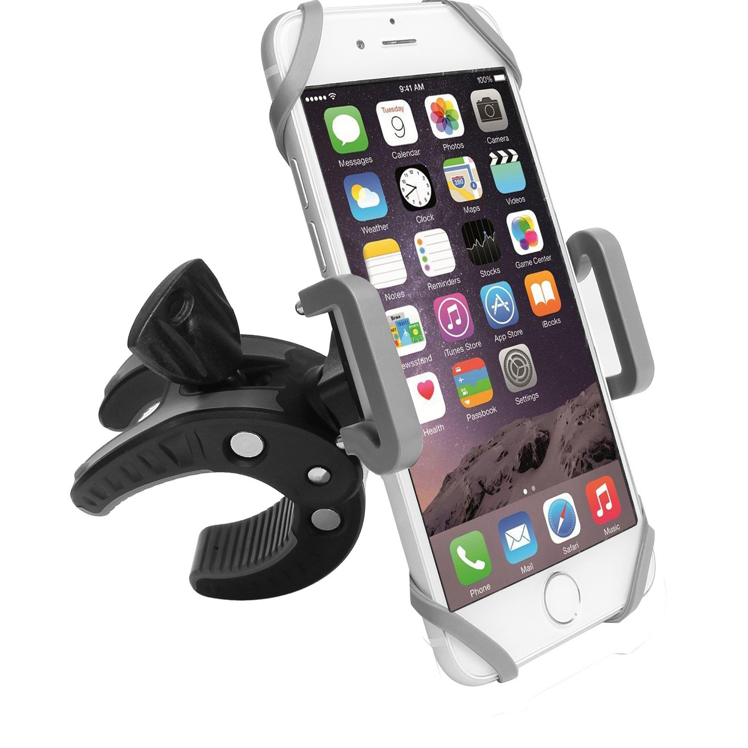 pretty nice 23b34 5a258 Bike Phone Mount Motorcycle Bicycle Holder, 360 Degree Rotatable Cell Phone  Mount, Universal ATV, Bicycle Handlebar Holder for iPhone X ...