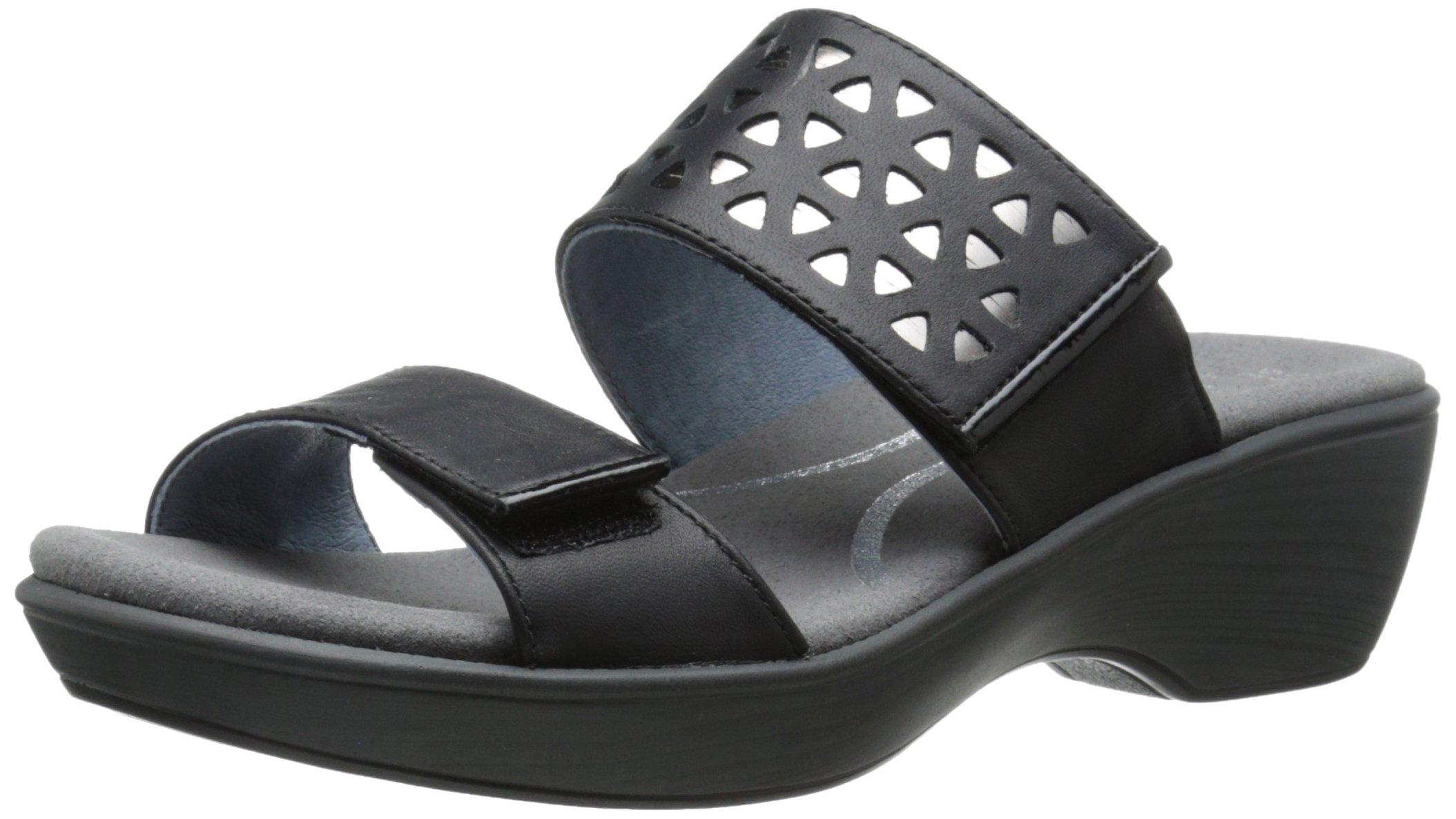 Naot Women's Moreto Wedge Sandal, Jet Black/Glass Silver/Black Patent, 39 EU/7.5-8 M US by NAOT