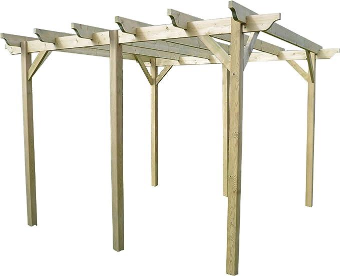 Estructura de madera jardín pérgola 4, 8 m x 4, 8 m – esculpido Rafter, verde claro: Amazon.es: Jardín