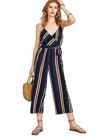 dbc53041ed7 Amazon.com  Verdusa Women s Wrap Surplice Striped Waist Belted Wide Leg  Jumpsuit  Clothing