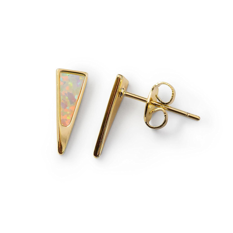 Stud Earrings Opal Dagger Stainless Steel: Triangle 14k Gold Dipped Small White Fire Opals Earring for Women Stainless Pair Benevolence LA ear-opal