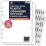 Nbplanner® 12intercalaires en plastique et Effacer Tab étiquettes Filofax Compatible anglais a5