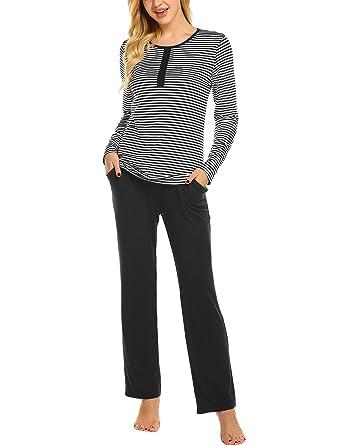 b404fb4791 Ekouaer Womens Pajama Set Striped Long Sleeve Sleepwear Soft PJ's Set with  Pants