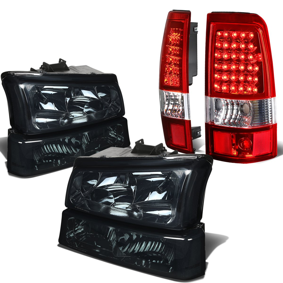 For Chevy Silverado 1st Gen 4pc Pair of Smoked Lens Clear Corner Headlight + Black Smoked Lens LED Tail Light Auto Dynasty